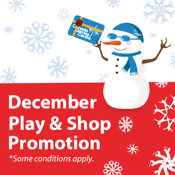 snowman graphicv holding gift card, December Play & Shop promo