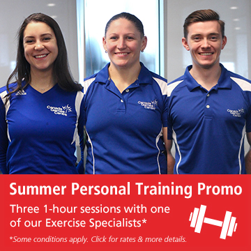 Personal training graphic with two female instructors and one male instructor