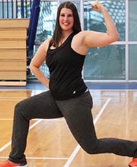 female fitness instructor, lunging