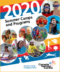 Summer guide cover with active kids, swimmer, basketball player