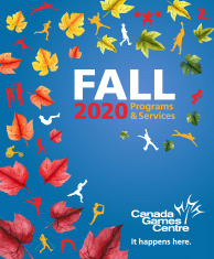 Fall 2020 program guide cover with leaves and active silhouettes