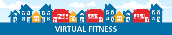 graphic with houses and active silhouettes for virtual fitness