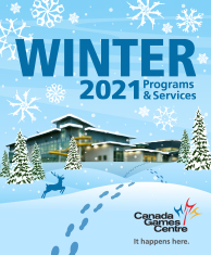 winter program guide cover with CGC building, snow covered trees, footprints, deer