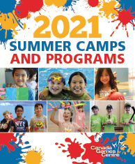 summer camp cover with red, blue and yellow splatters, laughing kids photos