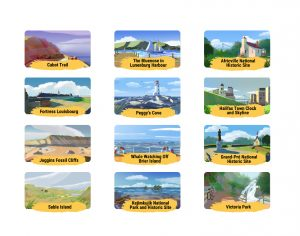 Art drawings of Nova Scotia landmarks and cultural sites like town clock, harbour, parks